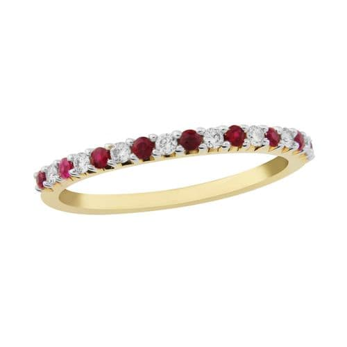 Yellow Gold Fine Ruby And Diamond Eternity Ring