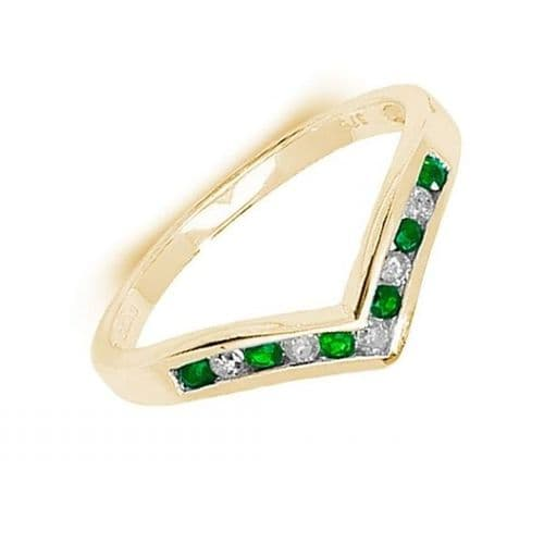 Yellow Gold Green Emerald And Diamond Wishbone Ring Rubbed Smooth Over Setting