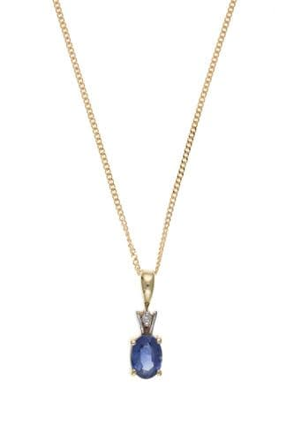 Yellow gold light blue oval sapphire and diamond necklace