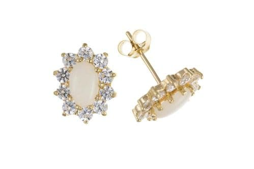 Yellow Gold Opal and Cubic Zirconia Cluster Stud Earrings