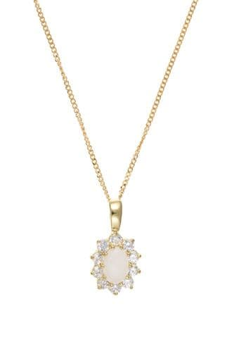 Yellow Gold Opal and Cubic Zirconia Oval Necklace