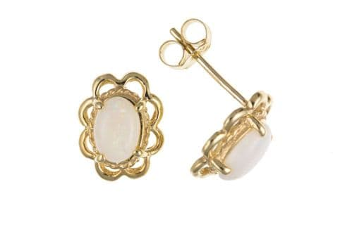 Yellow Gold Opal Oval Stud Earring With A Fancy Edging