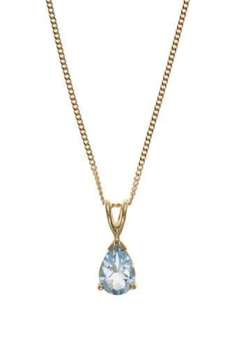 Yellow Gold pear Shaped Blue Topaz Necklace Including Chain