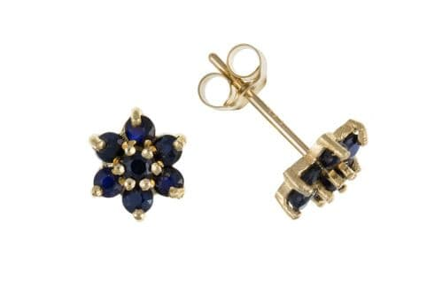 Yellow  Gold Round Blue Sapphire Cluster Stud Earrings