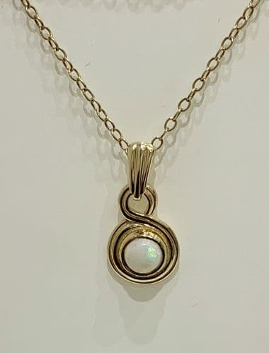 Yellow Gold Round Opal Necklace