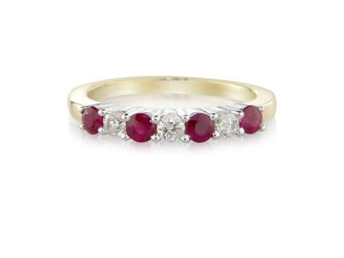 Yellow Gold Ruby And Diamond Eternity Claw Set Ring