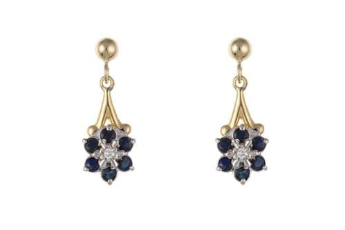 Yellow Gold Sapphire And Diamond Cluster Drop Earrings