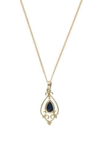 Yellow Gold Sapphire Pear Shaped Fancy Patterned Necklace And Chain