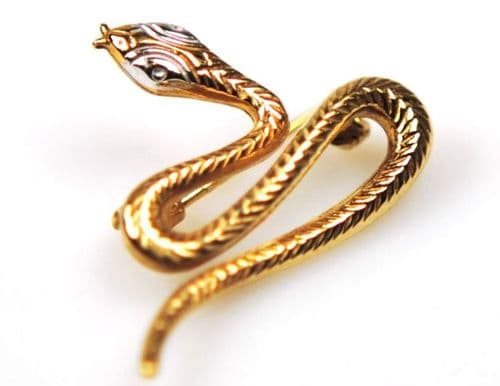 Yellow Gold Snake Brooch