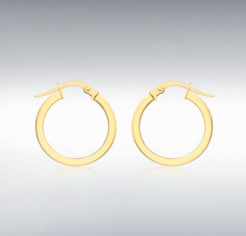 Yellow Plain Polished Round Hoop Earrings 17 mm