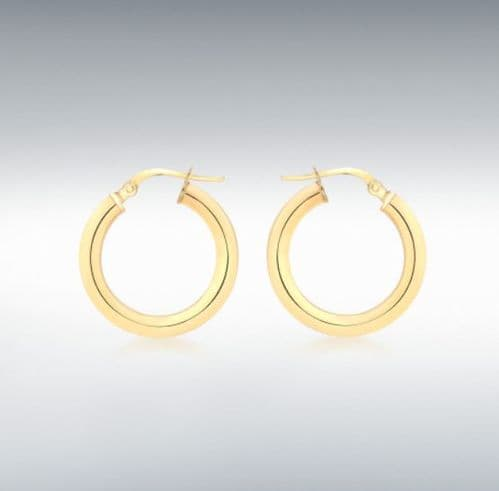 Yellow Plain Polished Round Hoop Earrings 20 mm