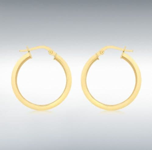 Yellow Plain Polished Round Hoop Earrings 22 mm