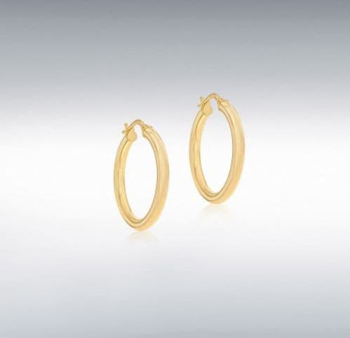 Yellow Plain Polished Round Hoop Earrings 25 mm