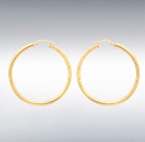 Yellow Plain Polished Round Hoop Earrings 35 mm