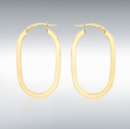 Yellow Plain Polished Thicker Oval Hoop Earrings 38 mm x 23 mm
