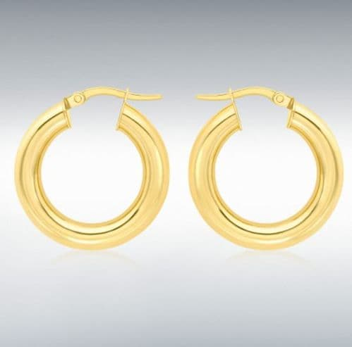Yellow Plain Polished Thicker Round Hoop Earrings 22 mm