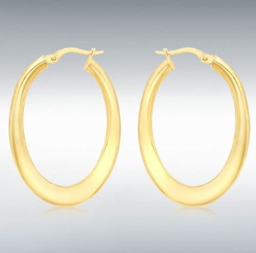 Yellow Plain Polished Thicker twisted Oval Hoop Earrings 35 mm x 25 mm
