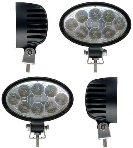 *Pack of 4* LED Work Lamps 1800 Lumens 8 x 3W (24W) Oval
