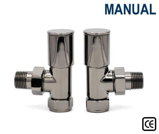 Contemporary Radiator Valves - Straight or Angled - Black Nickel