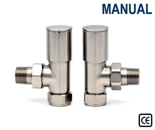 Contemporary Radiator Valves - Straight or Angled - Satin Nickel
