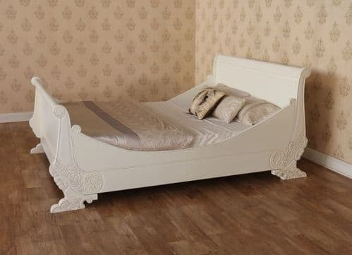 Sleigh Ornate Bed in Antique White