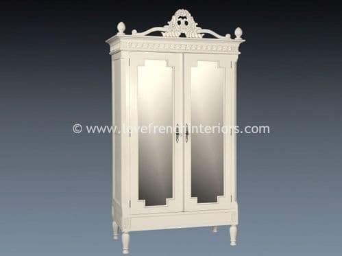 Alice Mirrored Armoire in Antique White