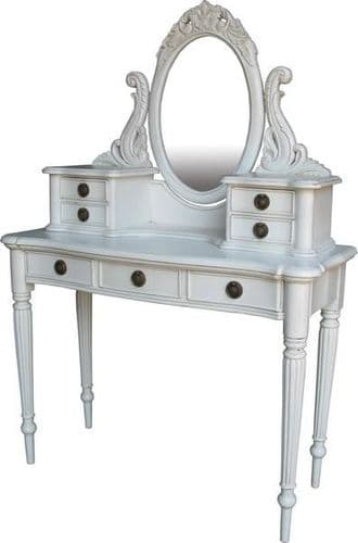 Antique White Dressing Table and Mirror