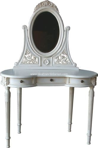 Antique White French Dressing Table and Mirror Set