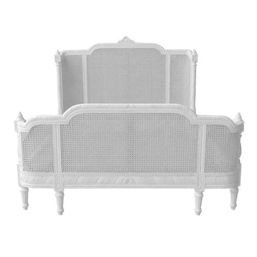 Antique White French Rattan Bergere Bed
