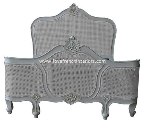 Antique White Rattan Bed with Curved Footboard