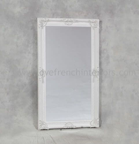 Antique White Rectangular Classic Framed Large Mirror