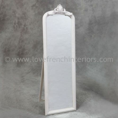 Antique White Tall Slim Dressing Mirror