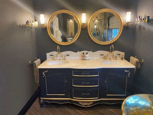 Bespoke Large Double Bowl Sink Vanity Unit with Two Mirrors