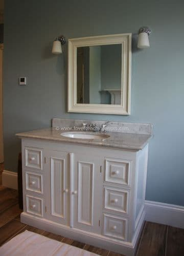 Bespoke Mahogany Single Sink Vanity with Two Doors and Six Drawers