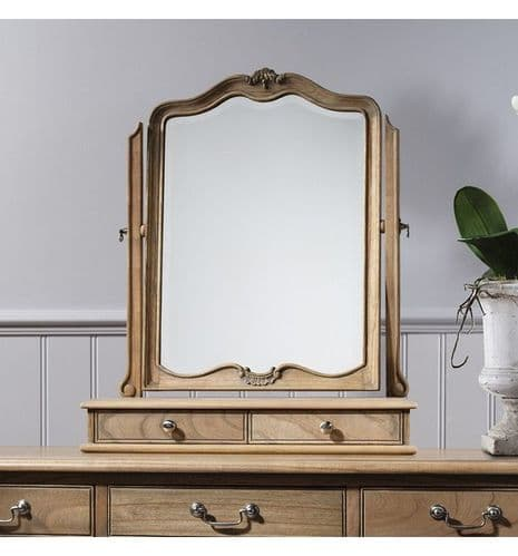 Chic Dressing Table Mirror Weathered Finish