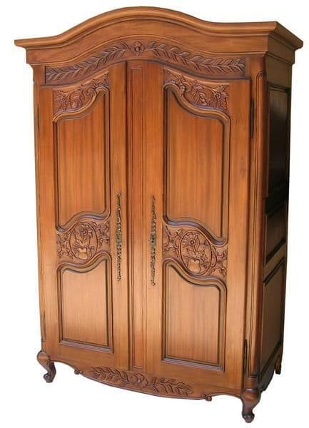 Curved Top Armoire with Carved Panelled Doors