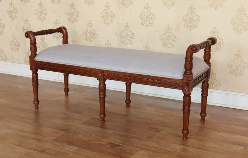 Double Stool with Carved Mahogany Frame