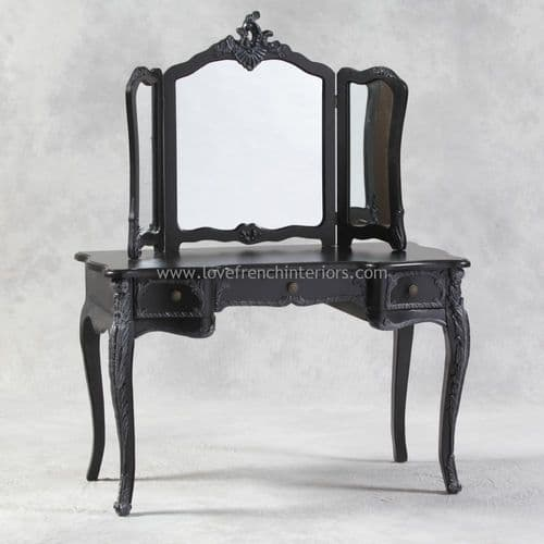 Dressing Table and Triple Mirror in Noir Black