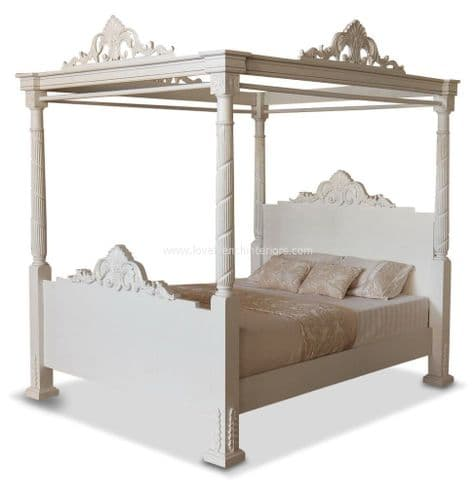 Four Poster Bed in Antique White