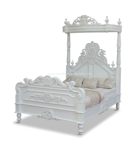 Four Poster Half Tester Bed in Antique White