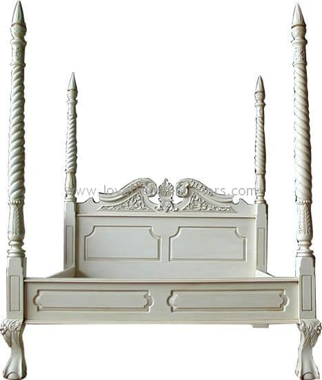 Four Poster with Barley Twist Posts in Antique White