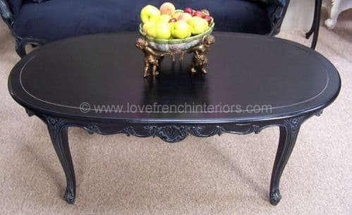 French Coffee Table in Noir Black