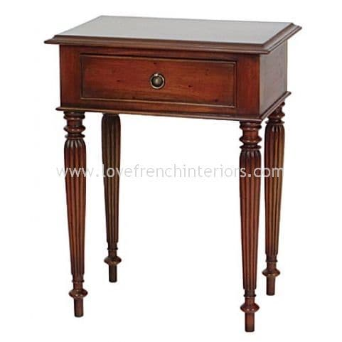 French Fluted Leg Side Table with Drawer