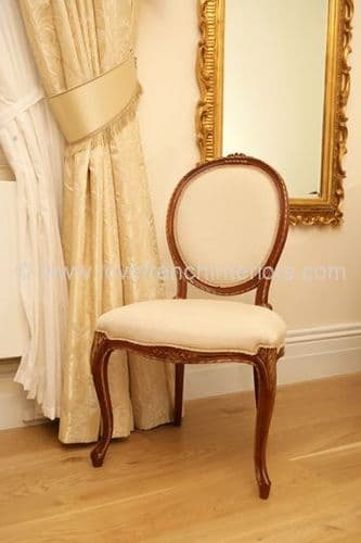 French Oval Carved Top Dining Chair with Cabriole Legs