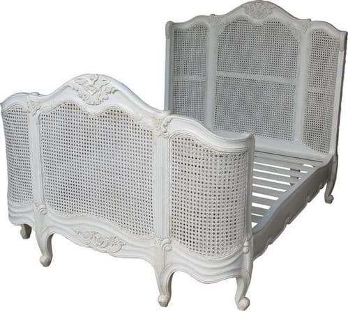French Rattan Bed with High Footend