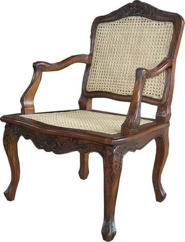 French Rattan Carver Chair
