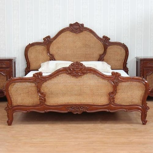 French Triple Panel Rattan Bed in Mahogany