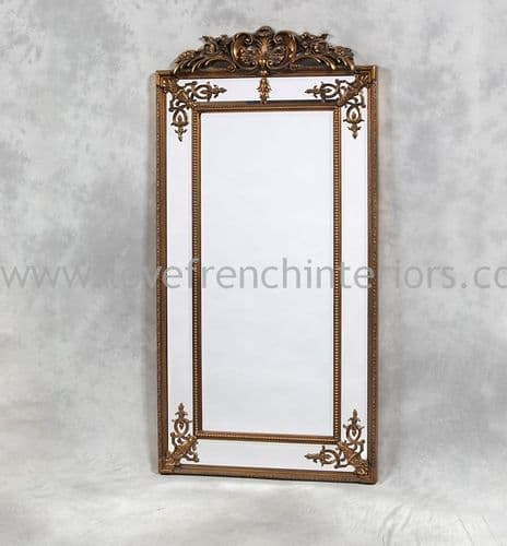 Gold French Crested Tall Slim Mirror