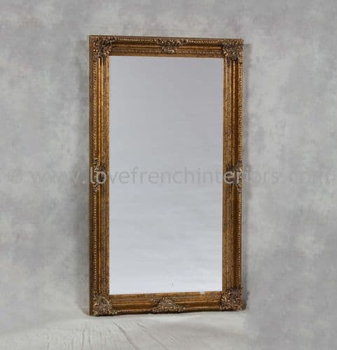 Gold Rectangular Classic Framed Large Mirror