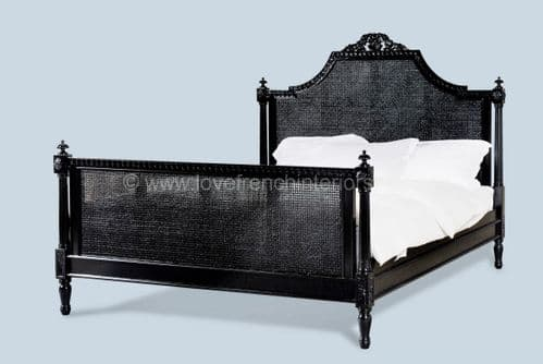 Isabelle Rattan Bed in Noir Black